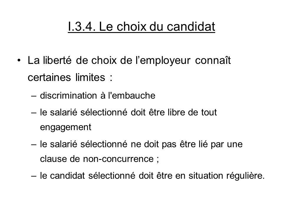 I.3.4. Le choix du candidat La liberté de choix de lemployeur connaît certaines limites : –discrimination à l'embauche –le salarié sélectionné doit êt