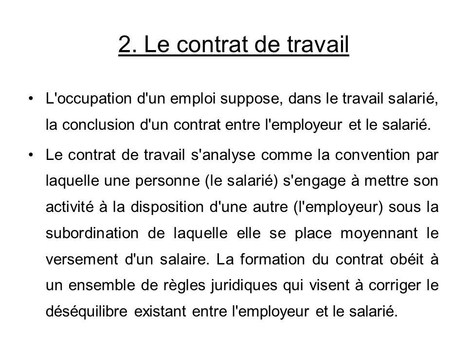 L'occupation d'un emploi suppose, dans le travail salarié, la conclusion d'un contrat entre l'employeur et le salarié. Le contrat de travail s'analyse
