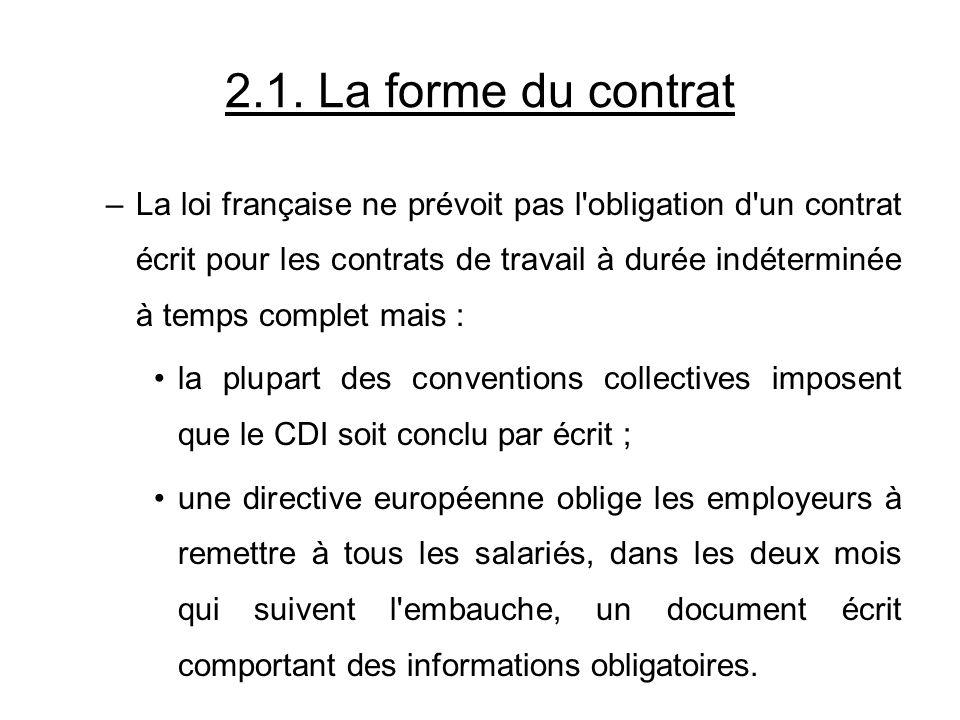 2.1. La forme du contrat –La loi française ne prévoit pas l'obligation d'un contrat écrit pour les contrats de travail à durée indéterminée à temps co