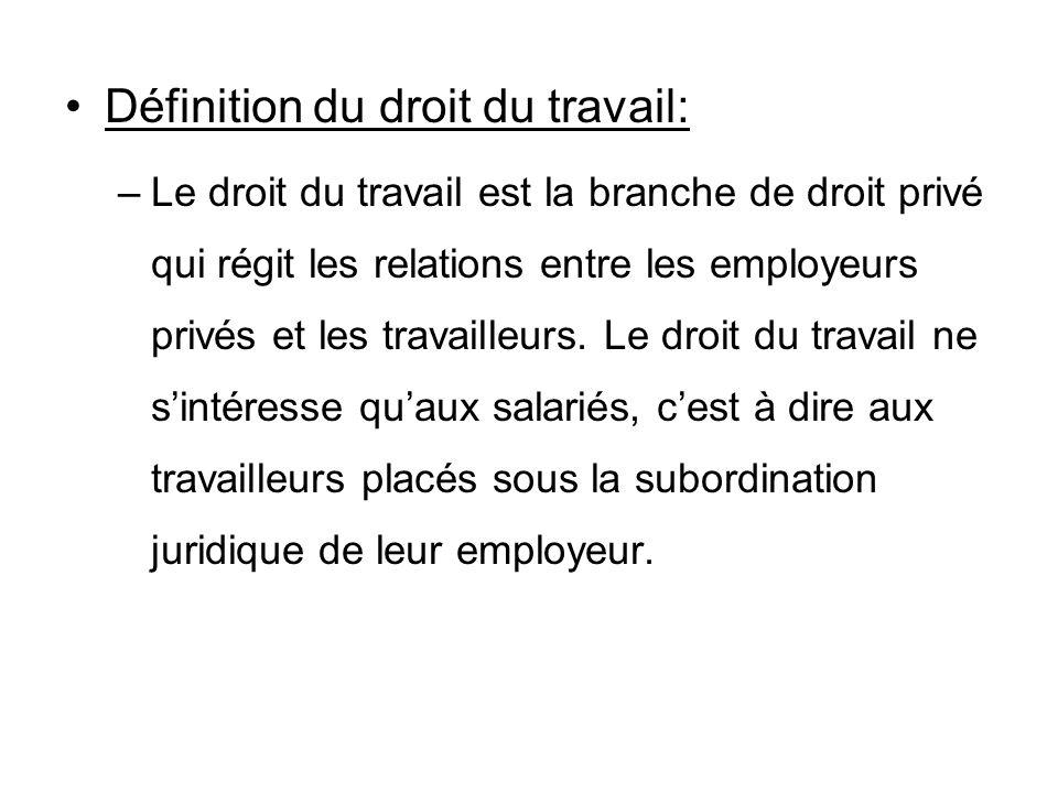 Définition du droit du travail: –Le droit du travail est la branche de droit privé qui régit les relations entre les employeurs privés et les travaill