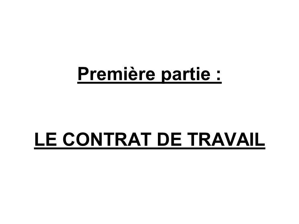 Première partie : LE CONTRAT DE TRAVAIL