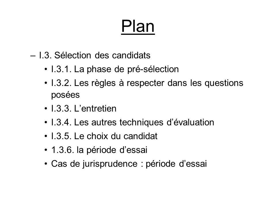 Plan –I.3. Sélection des candidats I.3.1. La phase de pré-sélection I.3.2. Les règles à respecter dans les questions posées I.3.3. Lentretien I.3.4. L