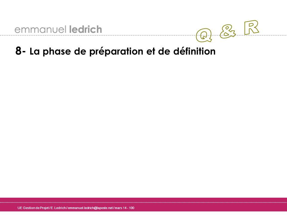 UE Gestion de Projet / E. Ledrich / emmanuel.ledrich@laposte.net / mars 14 - 100 8- La phase de préparation et de définition