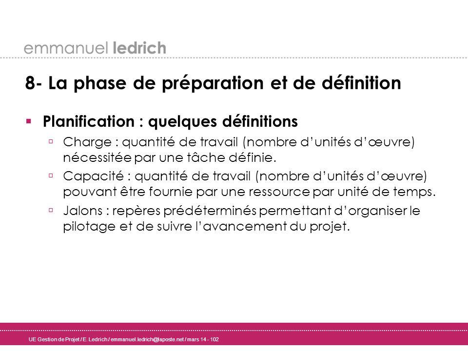 UE Gestion de Projet / E. Ledrich / emmanuel.ledrich@laposte.net / mars 14 - 102 8- La phase de préparation et de définition Planification : quelques