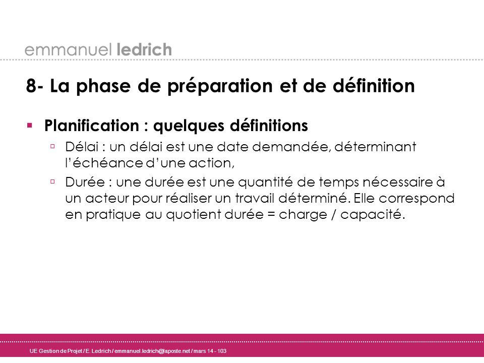 UE Gestion de Projet / E. Ledrich / emmanuel.ledrich@laposte.net / mars 14 - 103 8- La phase de préparation et de définition Planification : quelques