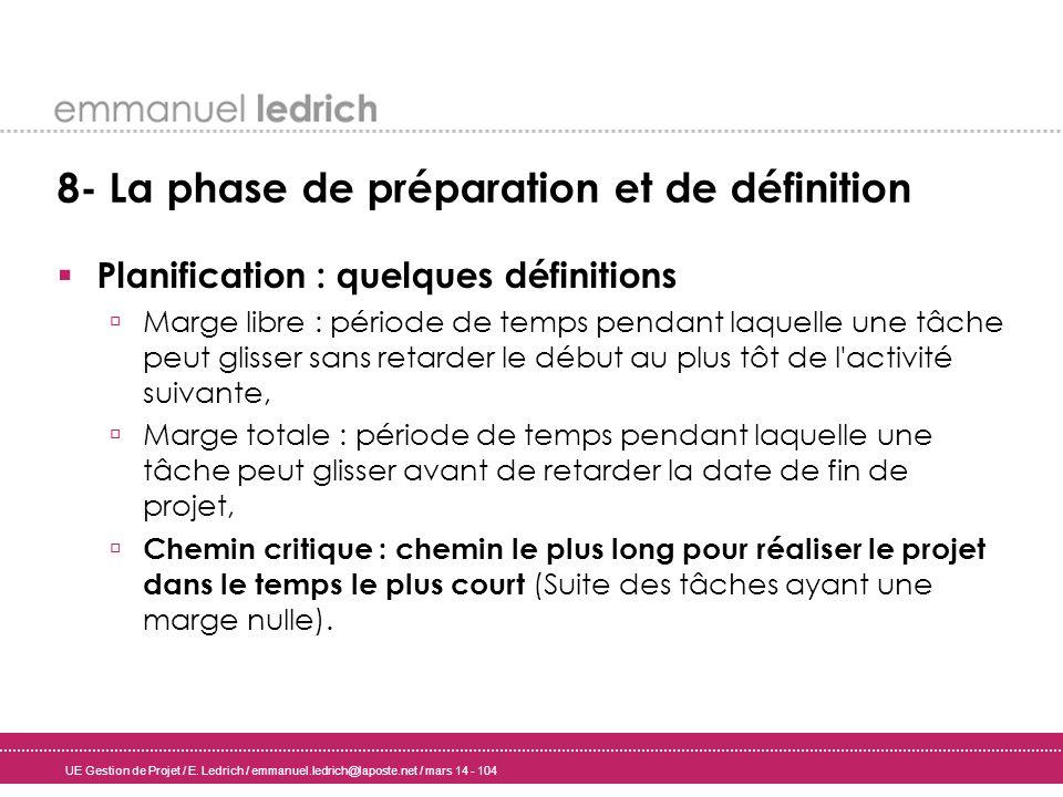UE Gestion de Projet / E. Ledrich / emmanuel.ledrich@laposte.net / mars 14 - 104 8- La phase de préparation et de définition Planification : quelques