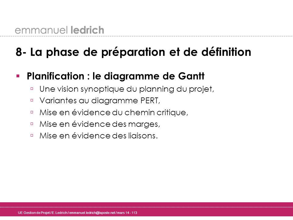 UE Gestion de Projet / E. Ledrich / emmanuel.ledrich@laposte.net / mars 14 - 113 8- La phase de préparation et de définition Planification : le diagra