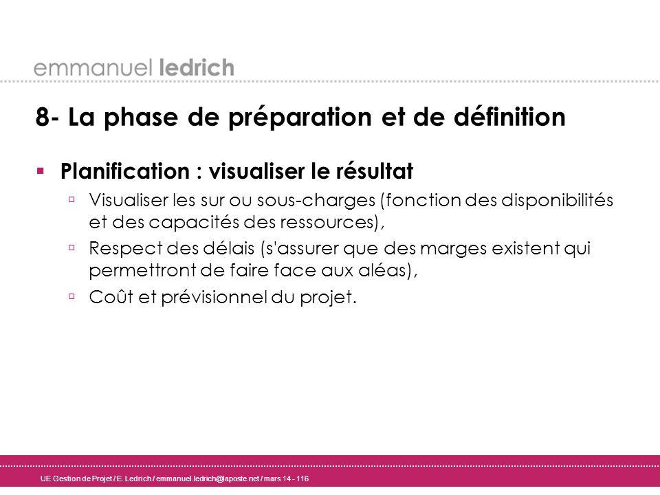 UE Gestion de Projet / E. Ledrich / emmanuel.ledrich@laposte.net / mars 14 - 116 8- La phase de préparation et de définition Planification : visualise