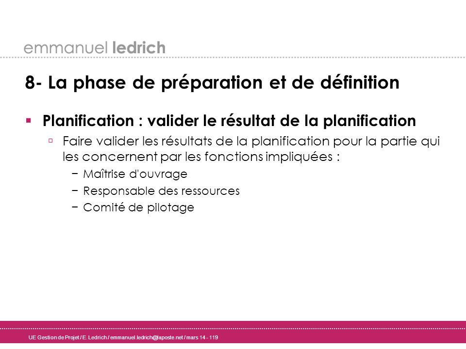 UE Gestion de Projet / E. Ledrich / emmanuel.ledrich@laposte.net / mars 14 - 119 8- La phase de préparation et de définition Planification : valider l