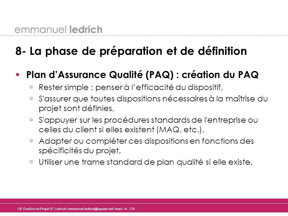 UE Gestion de Projet / E. Ledrich / emmanuel.ledrich@laposte.net / mars 14 - 124 8- La phase de préparation et de définition Plan dAssurance Qualité (