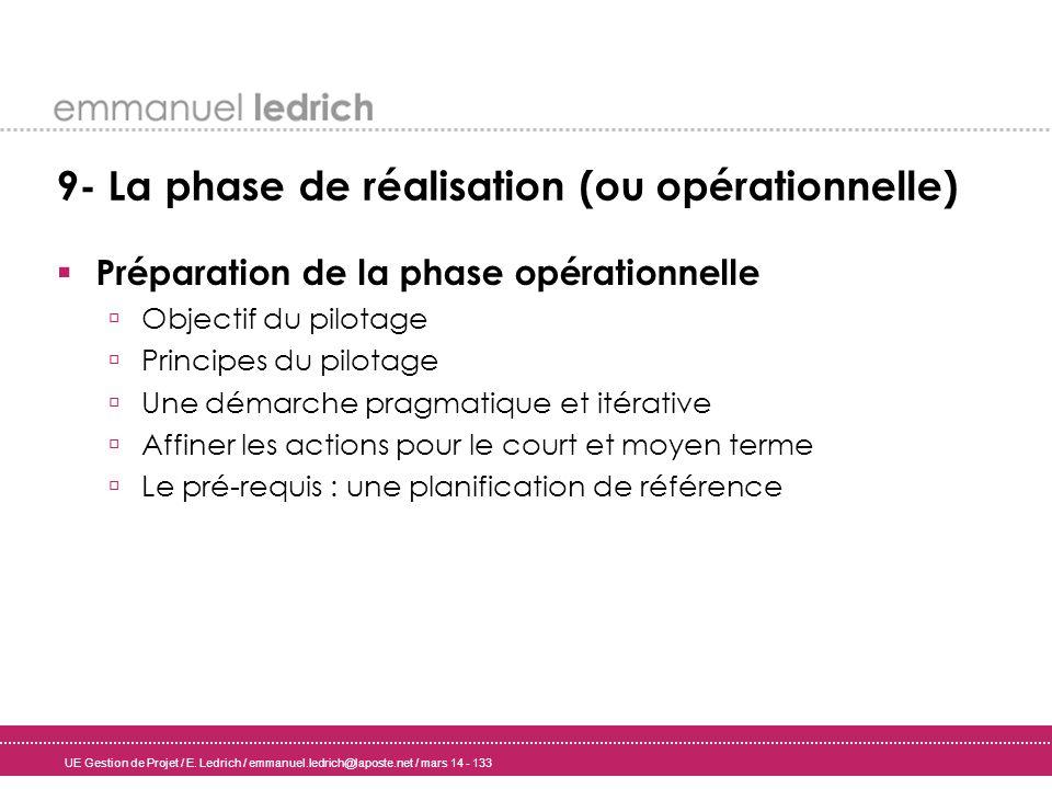 UE Gestion de Projet / E. Ledrich / emmanuel.ledrich@laposte.net / mars 14 - 133 9- La phase de réalisation (ou opérationnelle) Préparation de la phas
