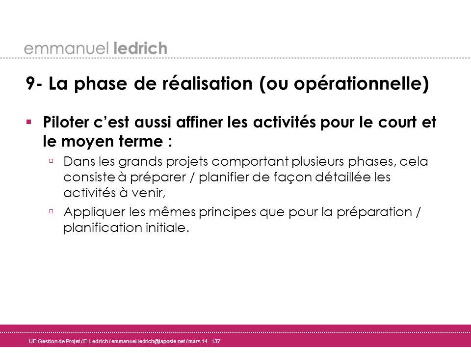 UE Gestion de Projet / E. Ledrich / emmanuel.ledrich@laposte.net / mars 14 - 137 9- La phase de réalisation (ou opérationnelle) Piloter cest aussi aff