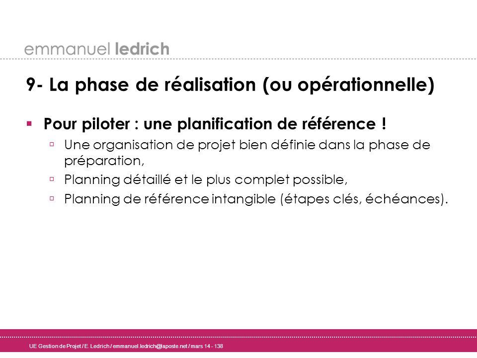 UE Gestion de Projet / E. Ledrich / emmanuel.ledrich@laposte.net / mars 14 - 138 9- La phase de réalisation (ou opérationnelle) Pour piloter : une pla