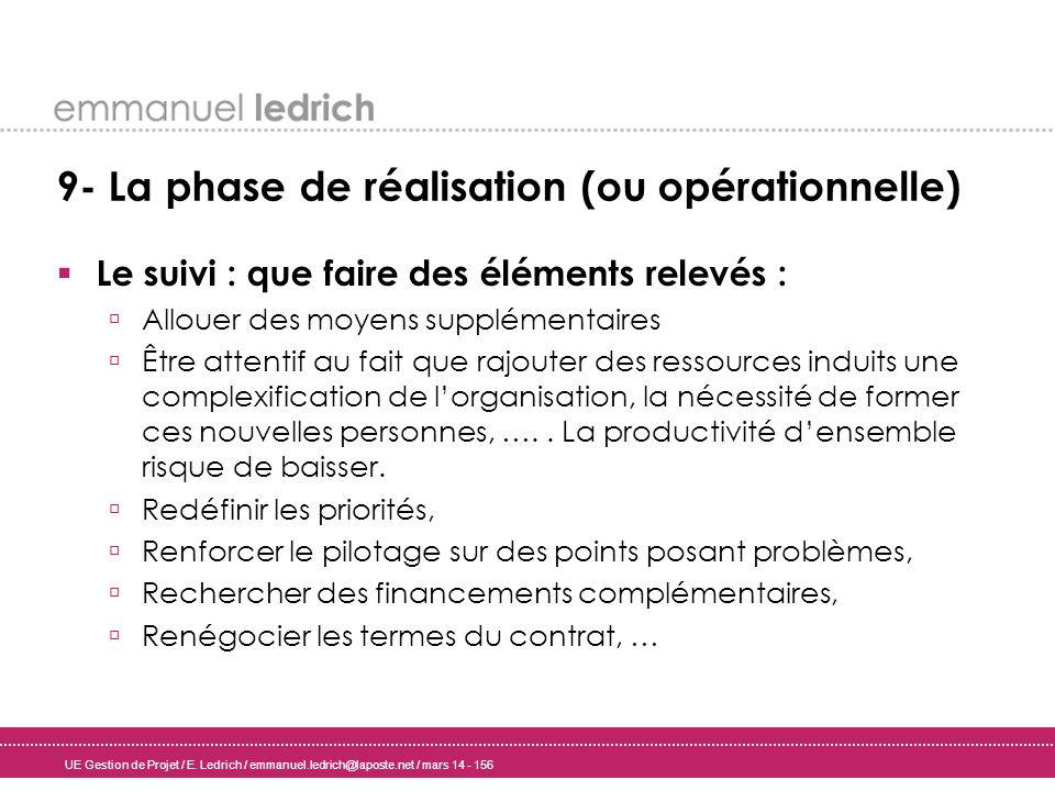 UE Gestion de Projet / E. Ledrich / emmanuel.ledrich@laposte.net / mars 14 - 156 9- La phase de réalisation (ou opérationnelle) Le suivi : que faire d
