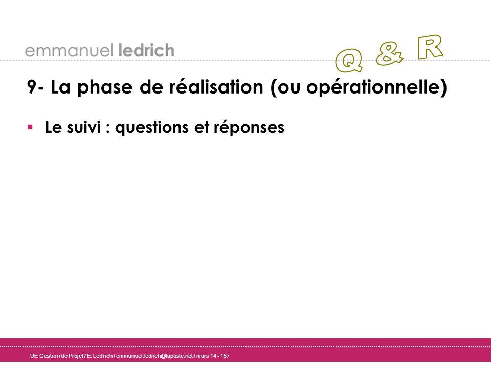 UE Gestion de Projet / E. Ledrich / emmanuel.ledrich@laposte.net / mars 14 - 157 9- La phase de réalisation (ou opérationnelle) Le suivi : questions e
