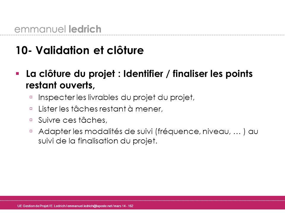 UE Gestion de Projet / E. Ledrich / emmanuel.ledrich@laposte.net / mars 14 - 162 10- Validation et clôture La clôture du projet : Identifier / finalis
