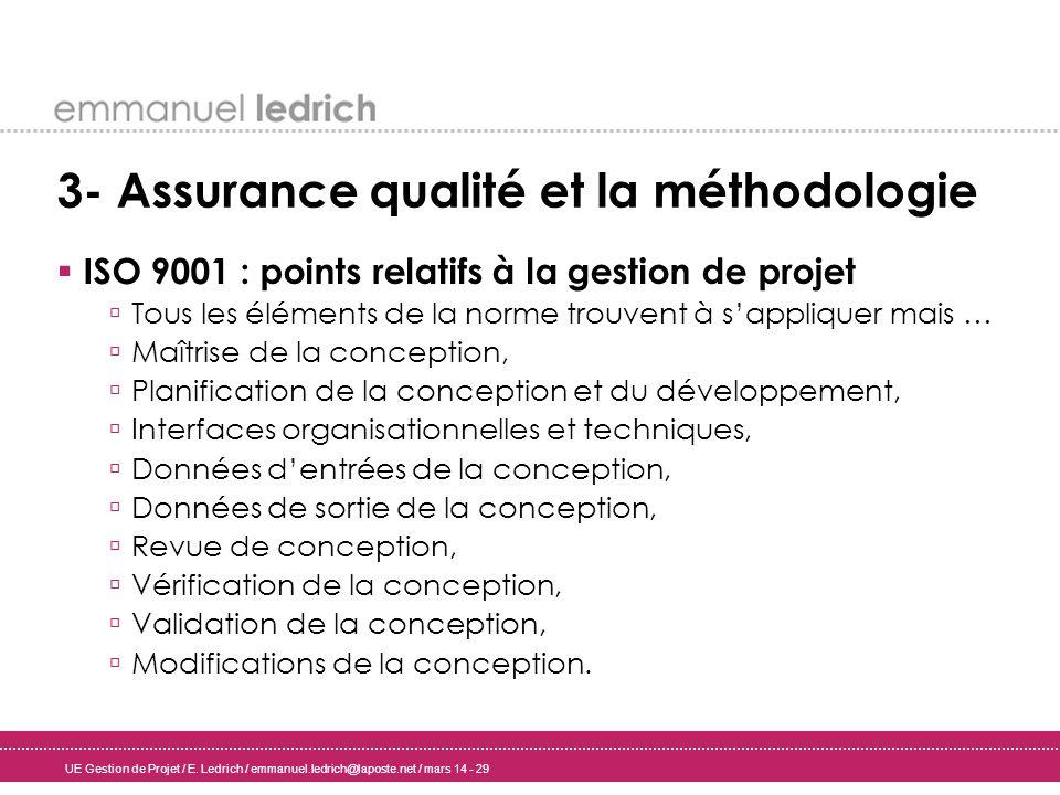 UE Gestion de Projet / E. Ledrich / emmanuel.ledrich@laposte.net / mars 14 - 29 3- Assurance qualité et la méthodologie ISO 9001 : points relatifs à l