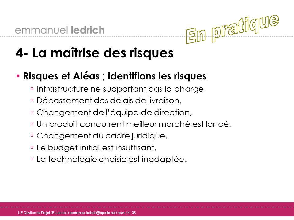 UE Gestion de Projet / E. Ledrich / emmanuel.ledrich@laposte.net / mars 14 - 35 4- La maîtrise des risques Risques et Aléas ; identifions les risques
