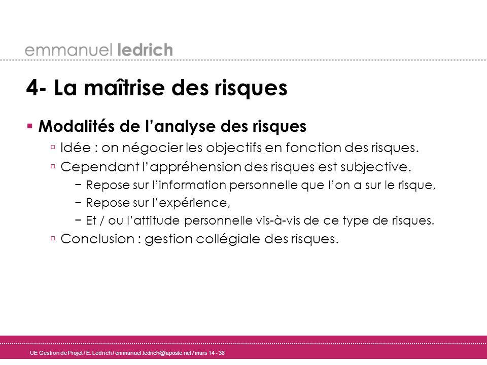UE Gestion de Projet / E. Ledrich / emmanuel.ledrich@laposte.net / mars 14 - 38 4- La maîtrise des risques Modalités de lanalyse des risques Idée : on