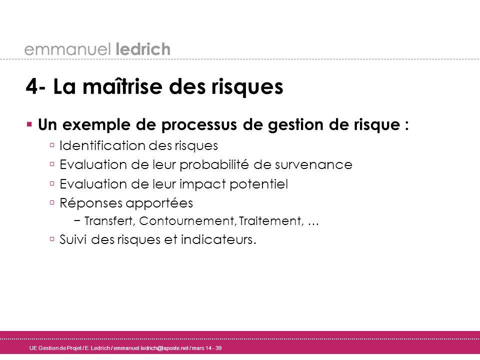 UE Gestion de Projet / E. Ledrich / emmanuel.ledrich@laposte.net / mars 14 - 39 4- La maîtrise des risques Un exemple de processus de gestion de risqu