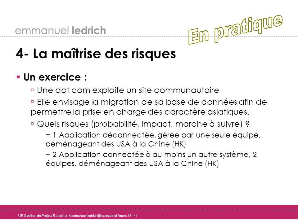 UE Gestion de Projet / E. Ledrich / emmanuel.ledrich@laposte.net / mars 14 - 41 4- La maîtrise des risques Un exercice : Une dot com exploite un site