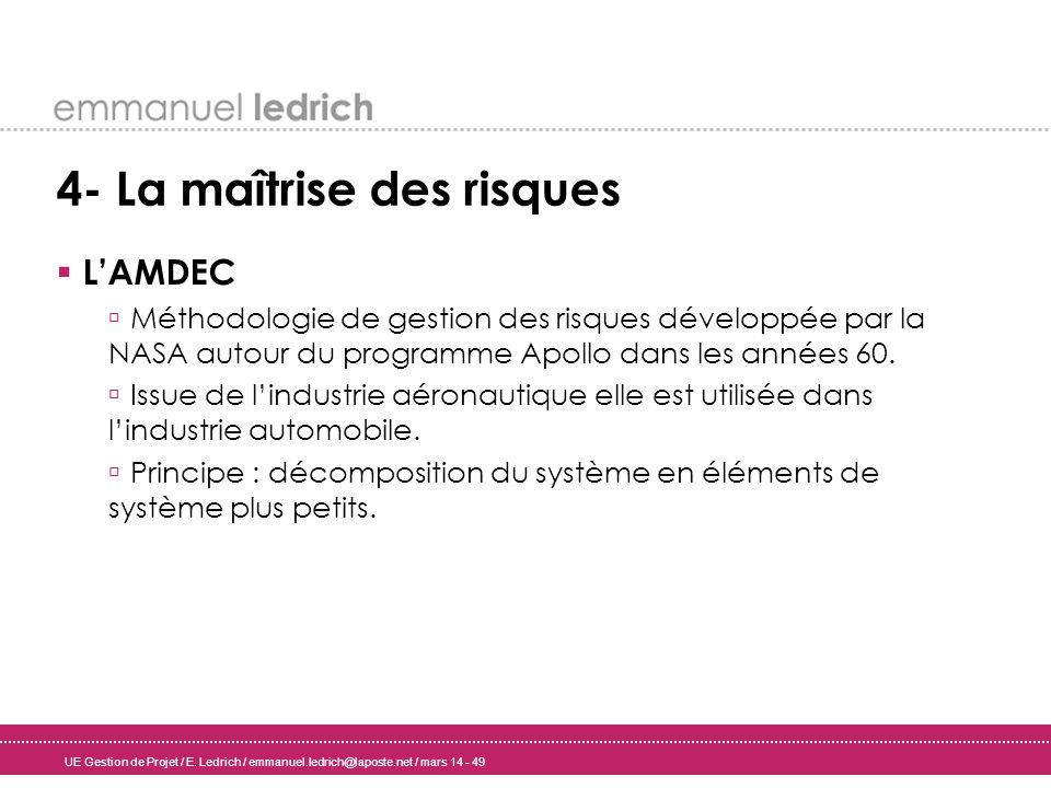 UE Gestion de Projet / E. Ledrich / emmanuel.ledrich@laposte.net / mars 14 - 49 4- La maîtrise des risques LAMDEC Méthodologie de gestion des risques