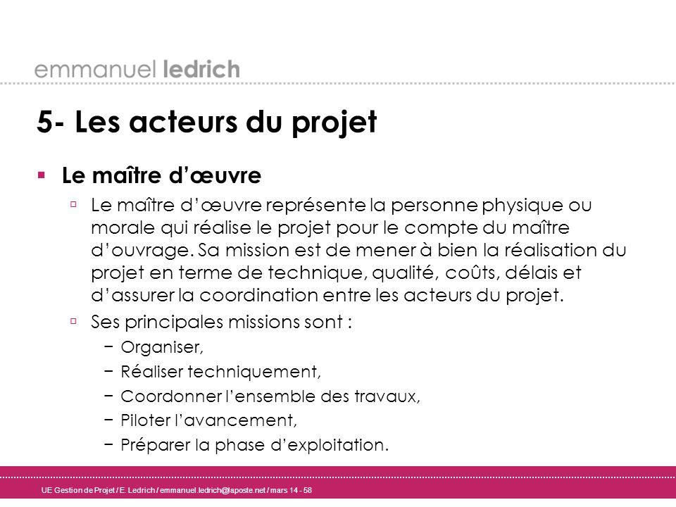 UE Gestion de Projet / E. Ledrich / emmanuel.ledrich@laposte.net / mars 14 - 58 5- Les acteurs du projet Le maître dœuvre Le maître dœuvre représente