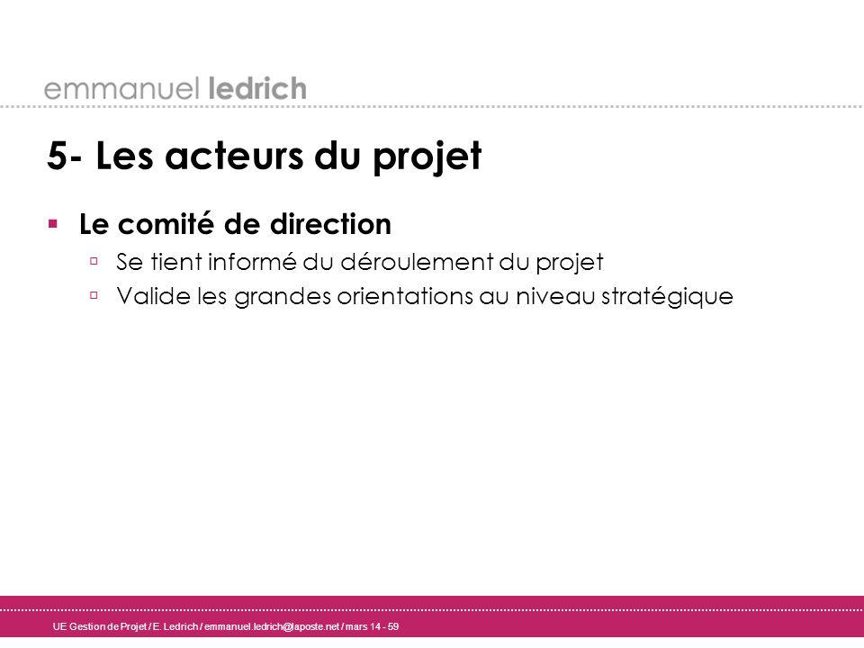 UE Gestion de Projet / E. Ledrich / emmanuel.ledrich@laposte.net / mars 14 - 59 5- Les acteurs du projet Le comité de direction Se tient informé du dé