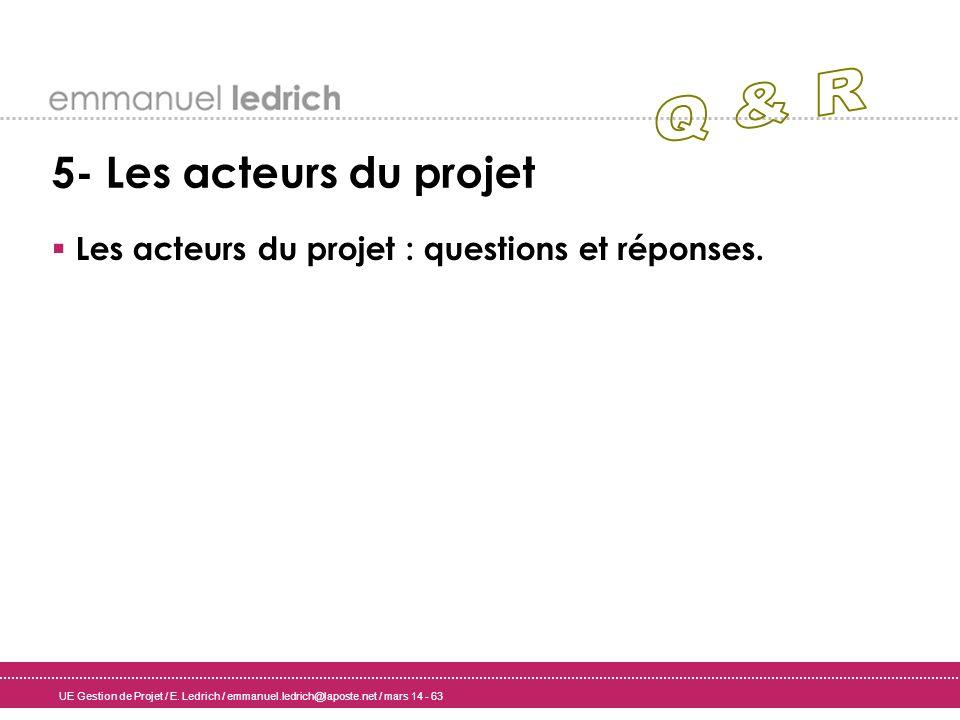 UE Gestion de Projet / E. Ledrich / emmanuel.ledrich@laposte.net / mars 14 - 63 5- Les acteurs du projet Les acteurs du projet : questions et réponses
