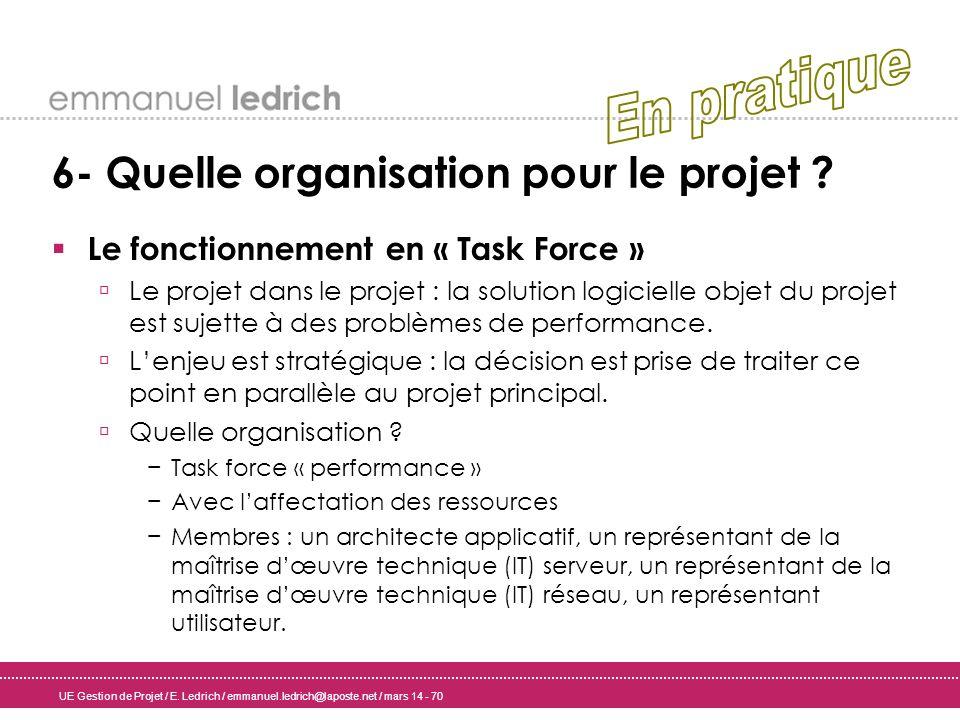 UE Gestion de Projet / E. Ledrich / emmanuel.ledrich@laposte.net / mars 14 - 70 6- Quelle organisation pour le projet ? Le fonctionnement en « Task Fo