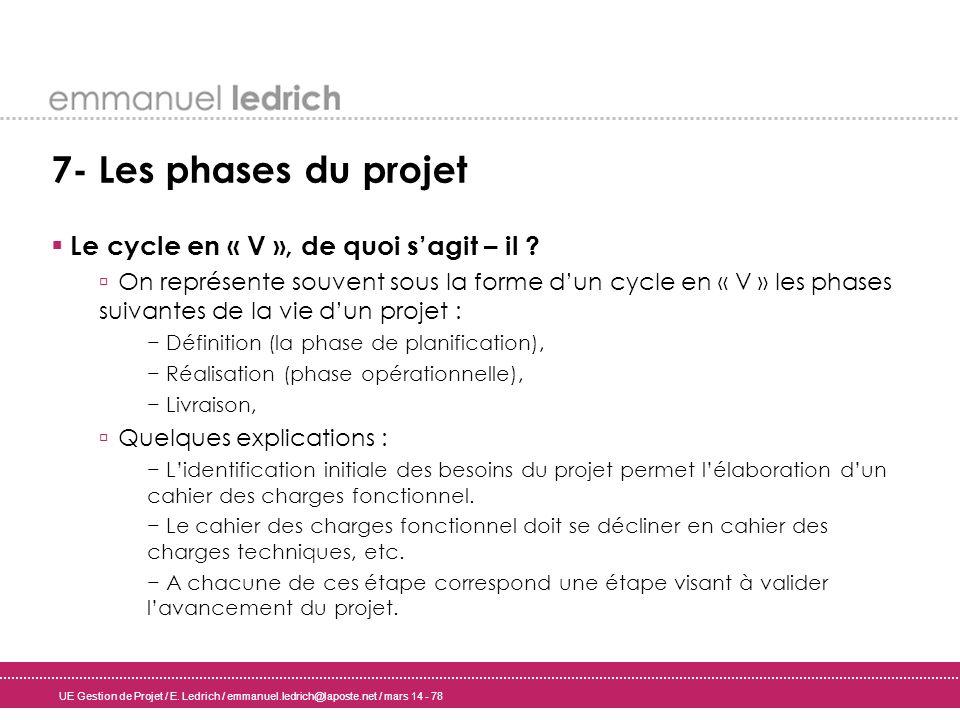 UE Gestion de Projet / E. Ledrich / emmanuel.ledrich@laposte.net / mars 14 - 78 7- Les phases du projet Le cycle en « V », de quoi sagit – il ? On rep