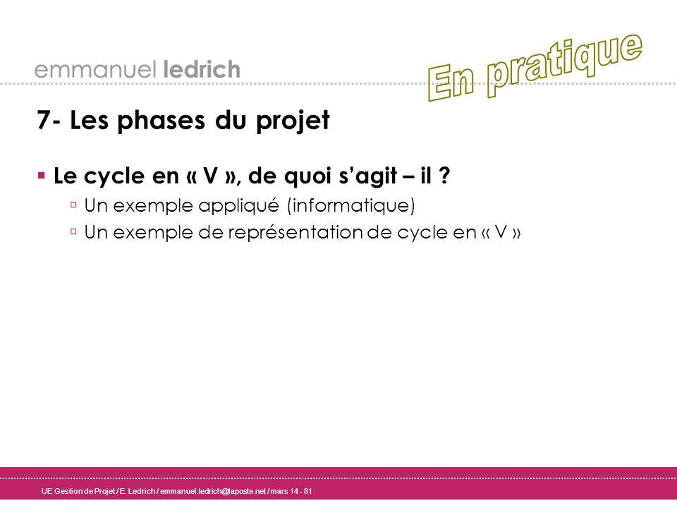 UE Gestion de Projet / E. Ledrich / emmanuel.ledrich@laposte.net / mars 14 - 81 7- Les phases du projet Le cycle en « V », de quoi sagit – il ? Un exe