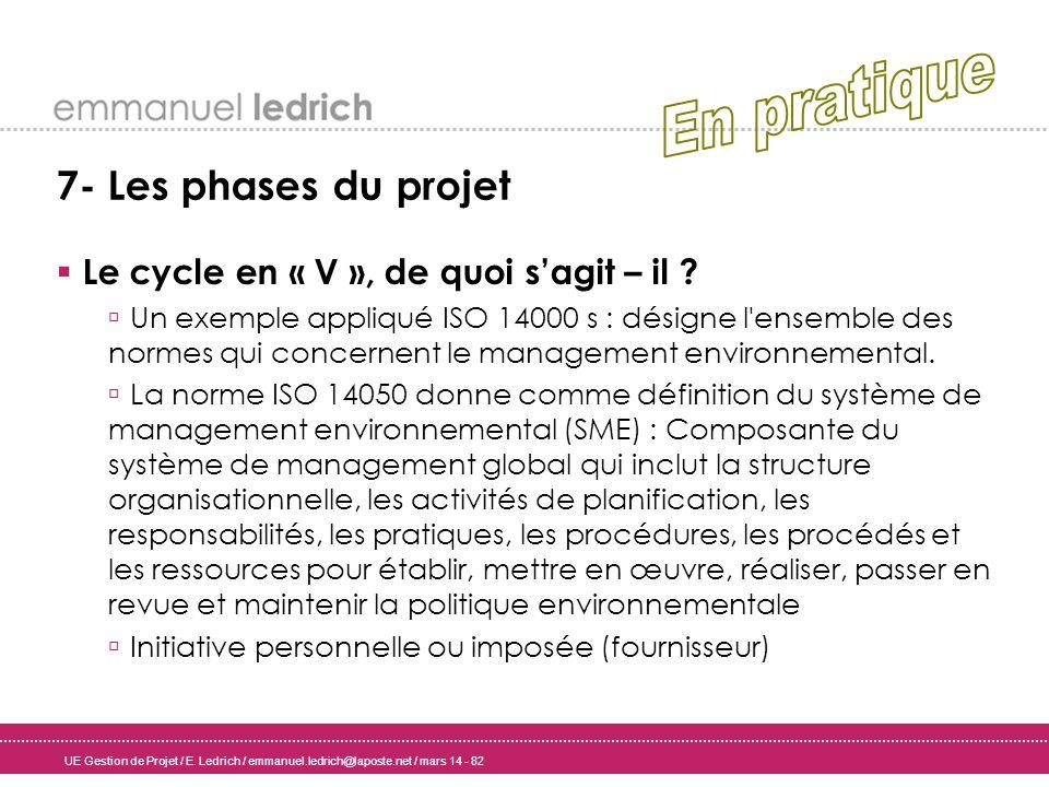 UE Gestion de Projet / E. Ledrich / emmanuel.ledrich@laposte.net / mars 14 - 82 7- Les phases du projet Le cycle en « V », de quoi sagit – il ? Un exe