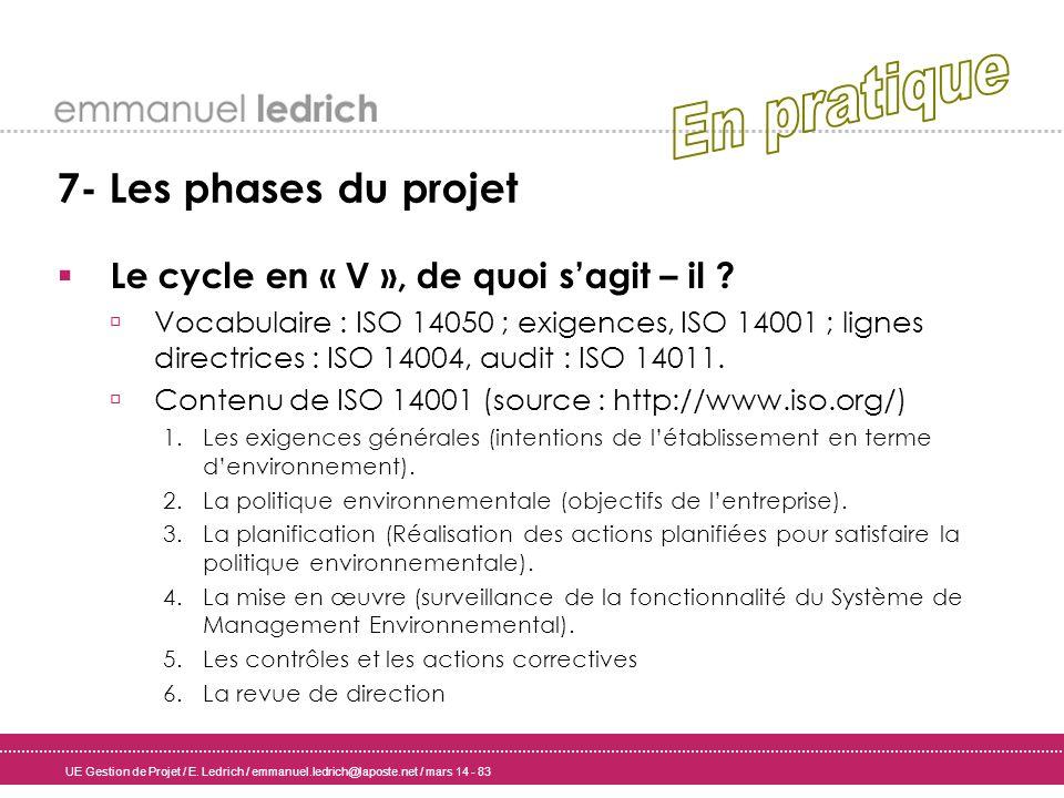 UE Gestion de Projet / E. Ledrich / emmanuel.ledrich@laposte.net / mars 14 - 83 7- Les phases du projet Le cycle en « V », de quoi sagit – il ? Vocabu
