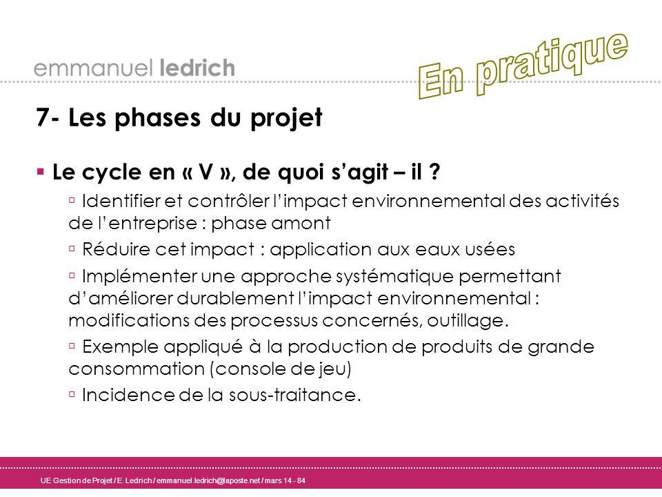 UE Gestion de Projet / E. Ledrich / emmanuel.ledrich@laposte.net / mars 14 - 84 7- Les phases du projet Le cycle en « V », de quoi sagit – il ? Identi