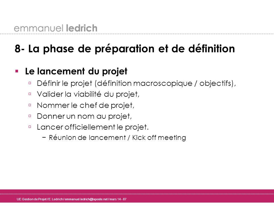 UE Gestion de Projet / E. Ledrich / emmanuel.ledrich@laposte.net / mars 14 - 87 8- La phase de préparation et de définition Le lancement du projet Déf