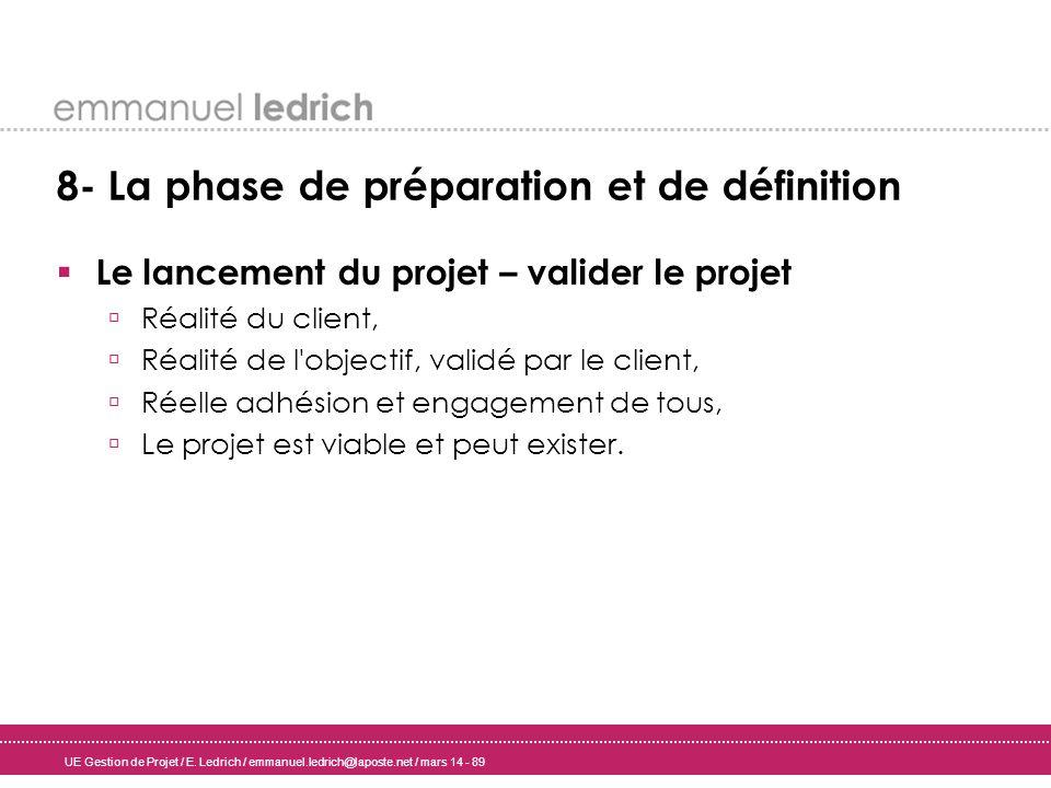 UE Gestion de Projet / E. Ledrich / emmanuel.ledrich@laposte.net / mars 14 - 89 8- La phase de préparation et de définition Le lancement du projet – v