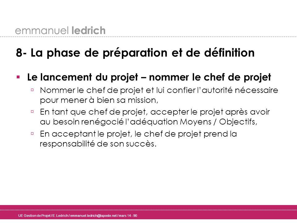 UE Gestion de Projet / E. Ledrich / emmanuel.ledrich@laposte.net / mars 14 - 90 8- La phase de préparation et de définition Le lancement du projet – n