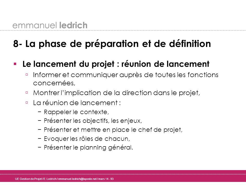 UE Gestion de Projet / E. Ledrich / emmanuel.ledrich@laposte.net / mars 14 - 93 8- La phase de préparation et de définition Le lancement du projet : r