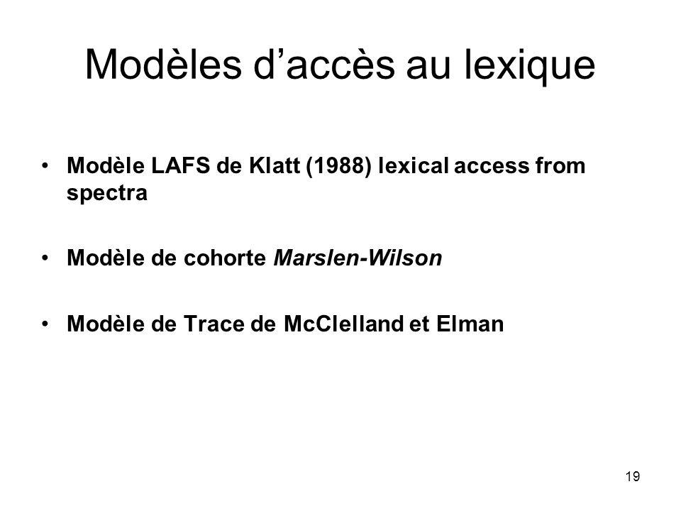 19 Modèles daccès au lexique Modèle LAFS de Klatt (1988) lexical access from spectra Modèle de cohorte Marslen-Wilson Modèle de Trace de McClelland et