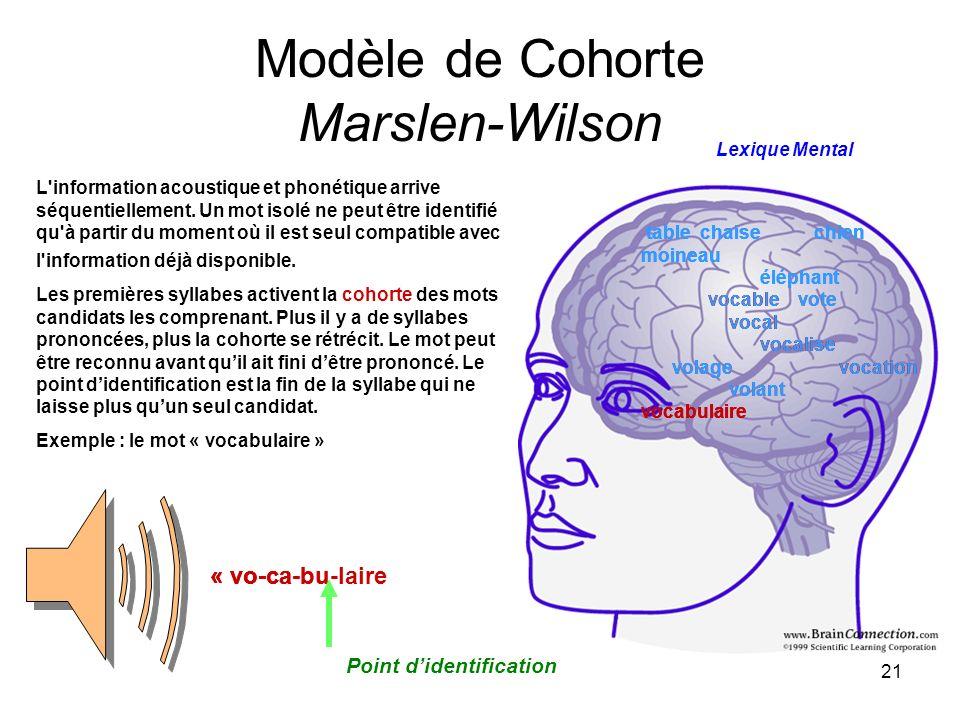 21 Modèle de Cohorte Marslen-Wilson table chaise chien moineau éléphant vocable vote vocal vocalise volage vocation volant vocabulaire « vo- table cha