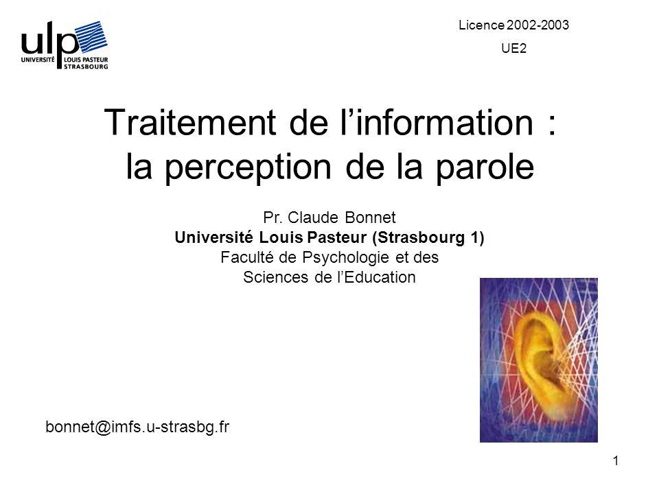 1 Traitement de linformation : la perception de la parole Pr. Claude Bonnet Université Louis Pasteur (Strasbourg 1) Faculté de Psychologie et des Scie