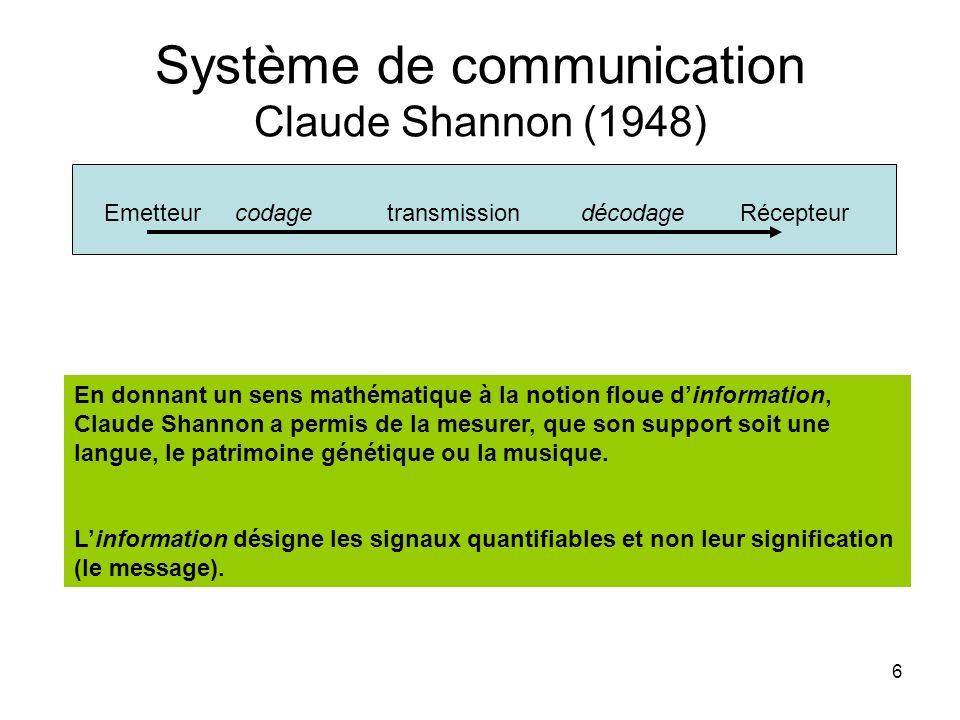 6 Système de communication Claude Shannon (1948) Emetteur codage transmission décodage Récepteur En donnant un sens mathématique à la notion floue dinformation, Claude Shannon a permis de la mesurer, que son support soit une langue, le patrimoine génétique ou la musique.