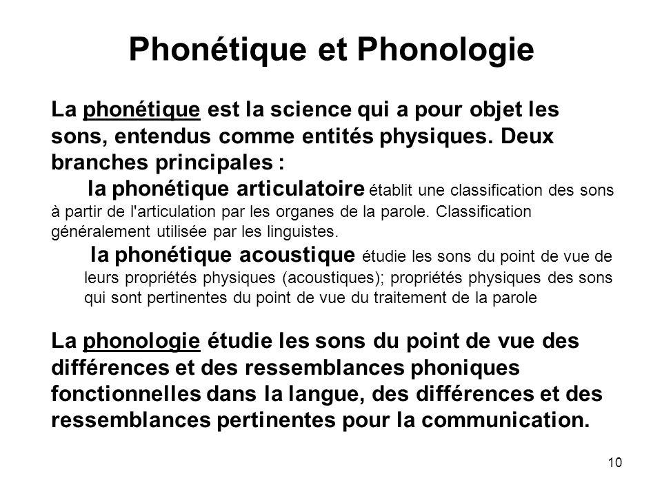 10 Phonétique et Phonologie La phonétique est la science qui a pour objet les sons, entendus comme entités physiques. Deux branches principales : la p