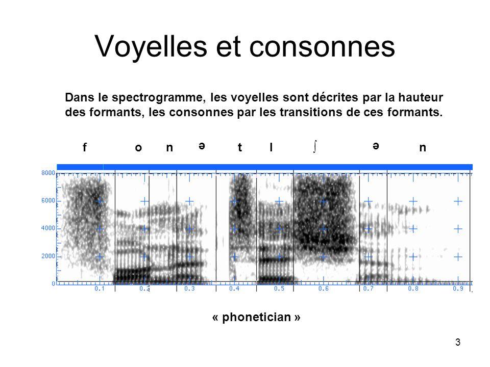 3 Voyelles et consonnes Dans le spectrogramme, les voyelles sont décrites par la hauteur des formants, les consonnes par les transitions de ces forman