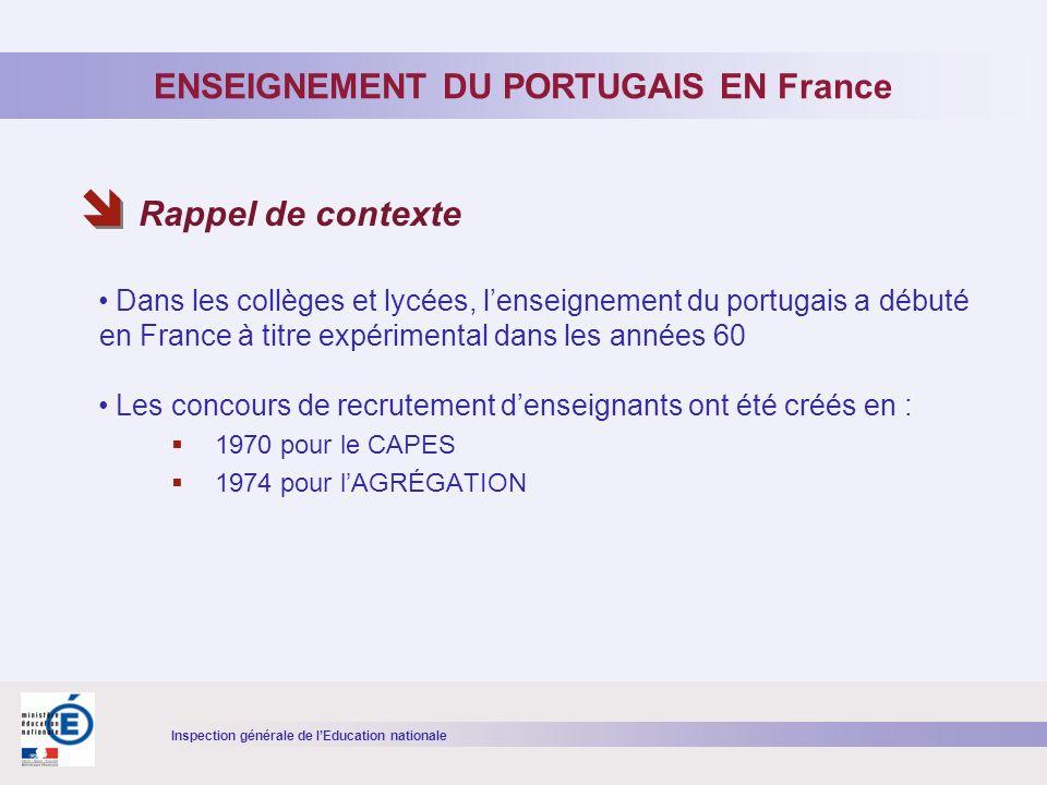 Inspection générale de lEducation nationale Dans les collèges et lycées, lenseignement du portugais a débuté en France à titre expérimental dans les années 60 Les concours de recrutement denseignants ont été créés en : 1970 pour le CAPES 1974 pour lAGRÉGATION ENSEIGNEMENT DU PORTUGAIS EN France Rappel de contexte