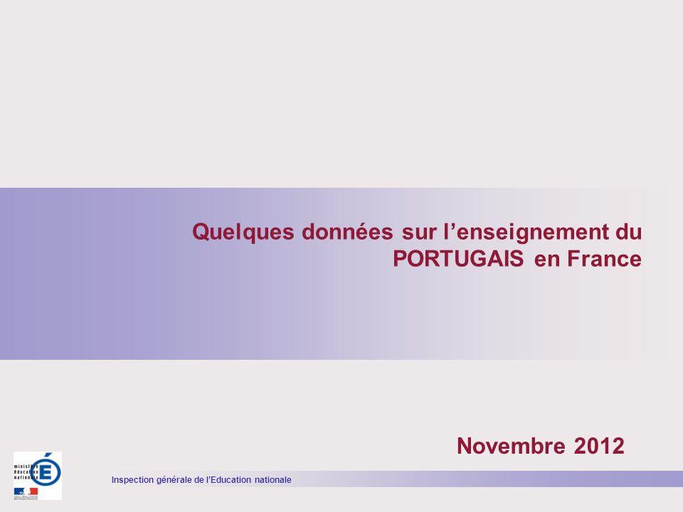 Inspection générale de lEducation nationale Evolution des effectifs délèves dans le second degré selon les statistiques ministérielles (source : DEPP) Une importante progression du nombre délèves étudiant le portugais au cours des dernières années ANNÉES SCOLAIRES 2001- 2002 2003- 2004 2005- 2006 2006- 2007 2007- 2008 2008- 2009 2009- 2010 2010- 2011 2011- 2012 EVOLU TION 96251043111752122231293913066133811429614903+55%