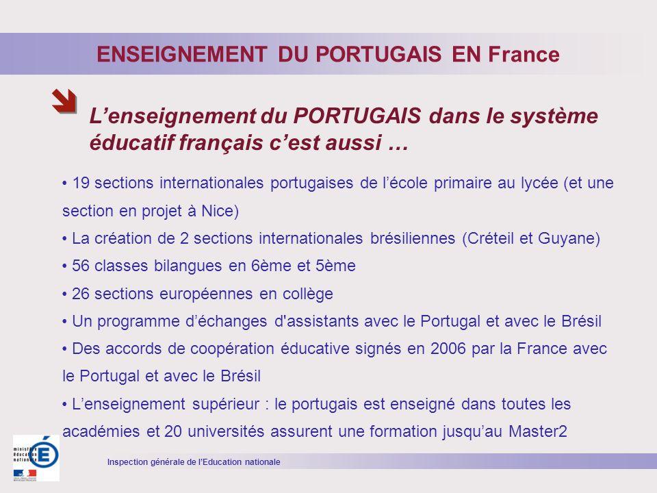 Inspection générale de lEducation nationale 19 sections internationales portugaises de lécole primaire au lycée (et une section en projet à Nice) La c