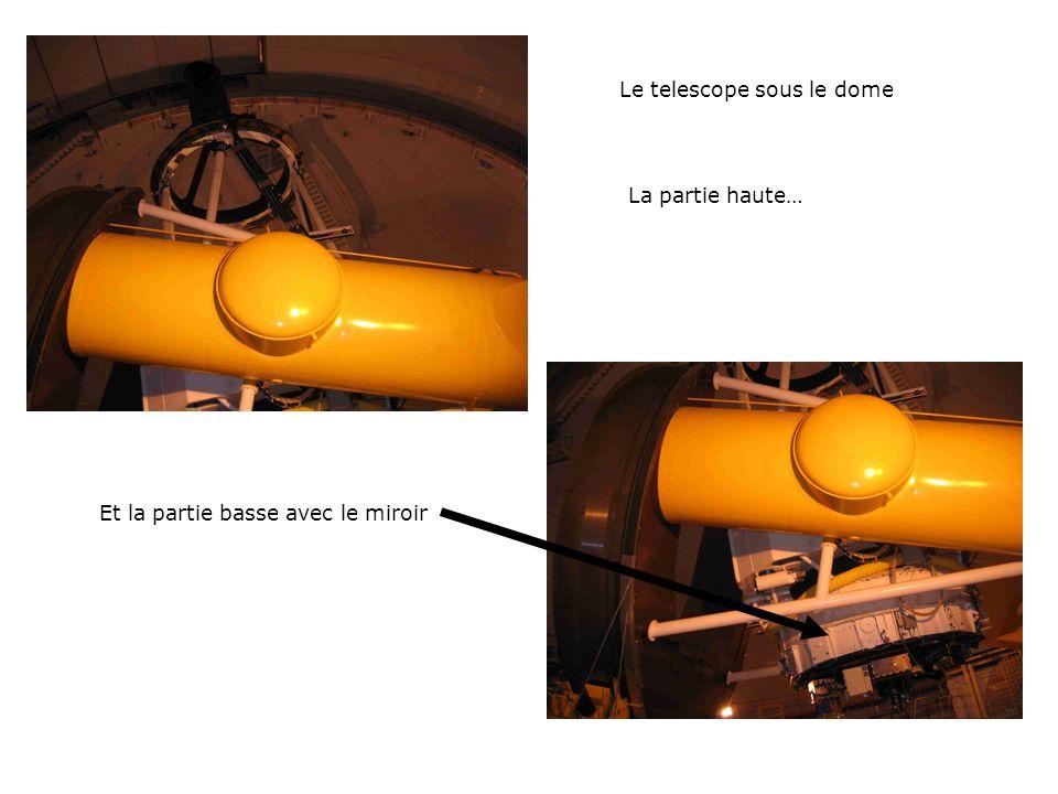Le telescope sous le dome La partie haute… Et la partie basse avec le miroir