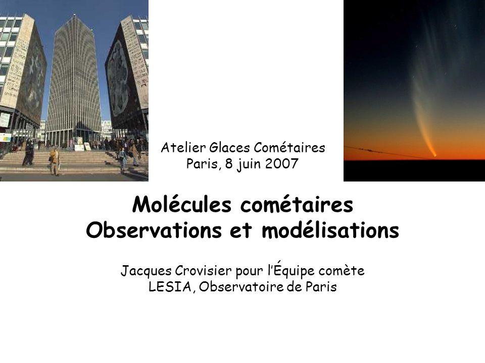 Atelier Glaces Cométaires Paris, 8 juin 2007 Molécules cométaires Observations et modélisations Jacques Crovisier pour lÉquipe comète LESIA, Observatoire de Paris